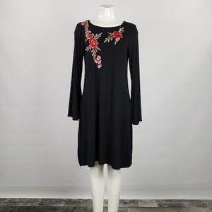 Spense Black Jersey Embroidered Dress Size M